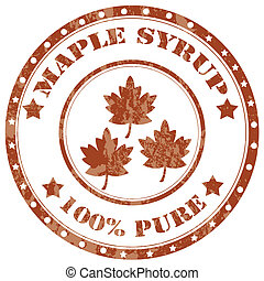 Maple Syrup-stamp - Grunge rubber stamp with text Maple...