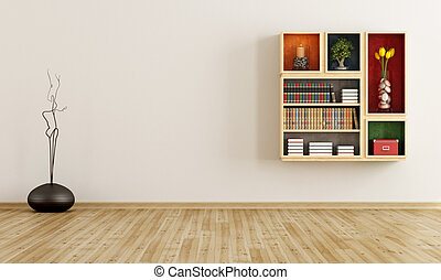 Empty room with bookcase on wall - rendering