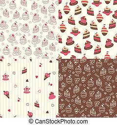 Set of cake seamless patterns