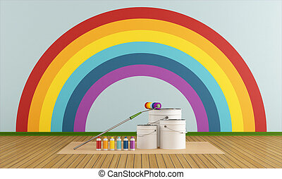 Cans and bottles colorful paint and