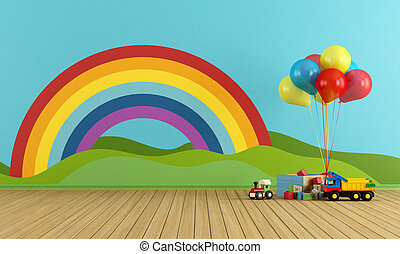 Empty Playroom with rainbow and toys - Empty Playroom with...