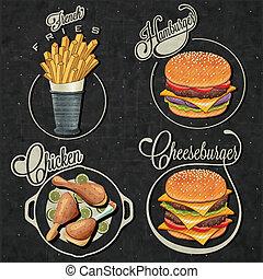 Vintage style fast food designs. - Retro vintage style fast...