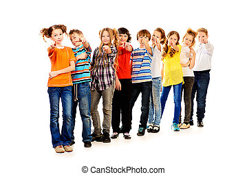 showing a finger - Group of children standing together and...