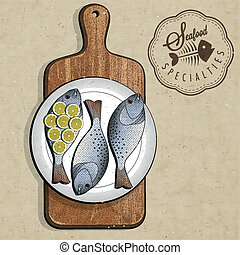 Rustic menu illustration. - Retro vintage style Fish...