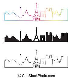 Paris skyline linear style with rainbow in editable vector...