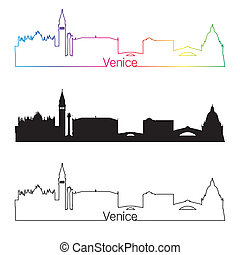 Venice skyline linear style with rainbow in editable vector...