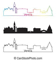Venice skyline linear style with rainbow in editable vector...