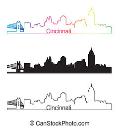 Cincinnati skyline linear style with rainbow in editable...