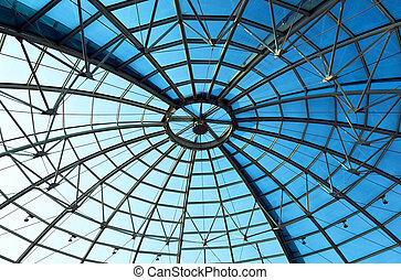 Limpid round ceiling - Dome with blue sky in a shopping mall...