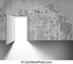 open door on a gray wall