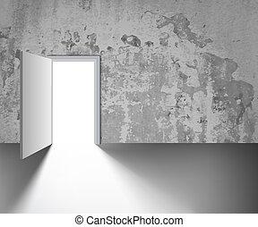 open door on a gray wall