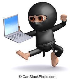 3d Ninja attacks his work - 3d render of ninja leaping and...