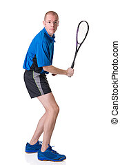 Playing squash - Full isolated picture of a caucasian man...