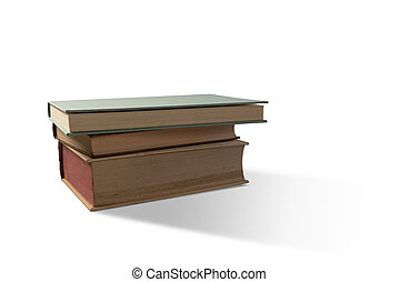 Pile of old books - Pile of three old books on white...
