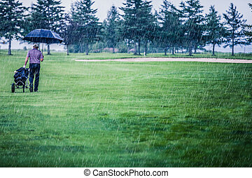 Golfer on a Rainy Day Leaving the Golf Course the game is...