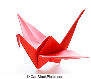 red paper origami bird on a white background