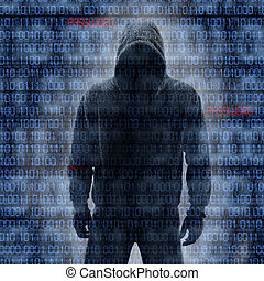 Hacker in Silhouette and Binary Codes - Hacker in Silhouette...