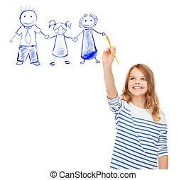 little girl drawing with brush family portrait - education,...