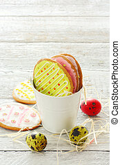 Colorful easter cookies and eggs