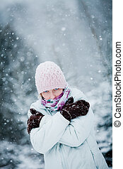 Freezing Woman during a Cold Winter Day