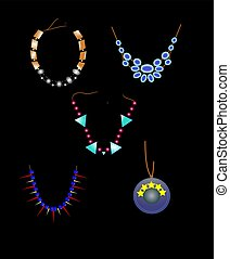 necklaces - variety of necklaces over black to show details...