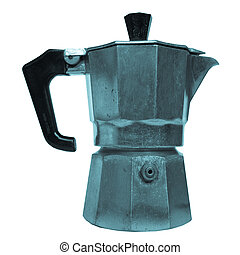 Coffee percolator picture - cool cyanotype