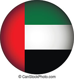 United Arab Emirates flag button on a white background...