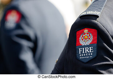 New Zealand Fire Service officer wearing ceremonial uniform...