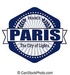 Paris capital of France label or stamp