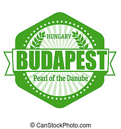 Budapest capital of Hungary label or stamp on white, vector...