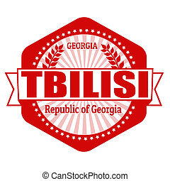 Tbilisi capital of Georgia label or stamp on white, vector...