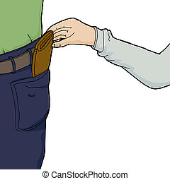 Hand Stealing Wallet - Hand of pickpocket stealing wallet...