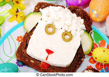 easter sandwich with sheep head for child - funny easter...