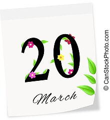 Calendar page with date of spring season-20.03.2014 year -...