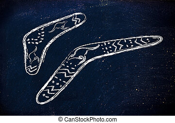 the boomerang effect - funny design of two australian...