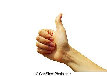 hand  - Womans hand with thumb up ok signal