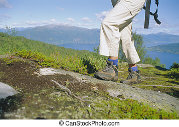 Close-up of woman hiking in the great outdoors,