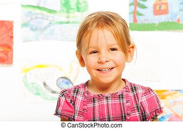 Blond happy little girl
