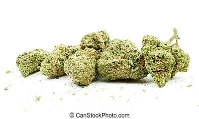 Marijuana and Cannabis, White Background - Marijuana and...