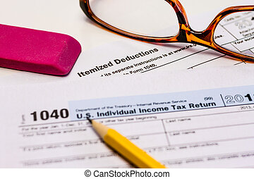 Filing Taxes and Tax Forms - Close up of tax form for...