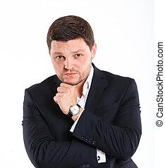 Men in full suit. - Portrait of man in black suit. Isolated...