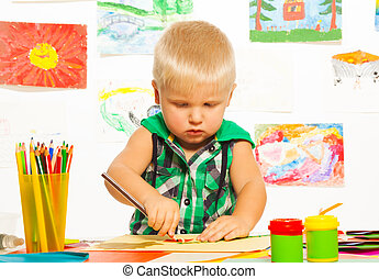 2 years boy drawing - 2 years old blond boy drawing with...