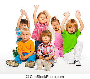 Three 3-4 years old kids isolated - Many happy kids 3-4...