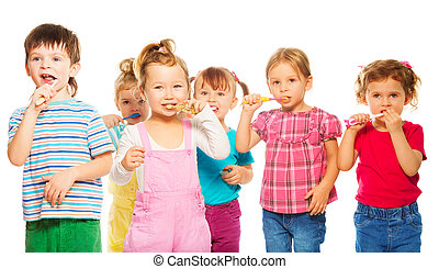 Group of kids brushing their teeth - Three happy little 3-4...