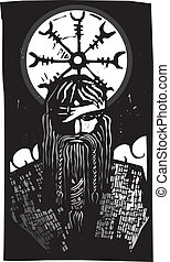 Norse God Odin and Wheel Symbol - Woodcut style image of the...