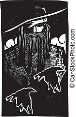 Norse God Odin With 2 Ravens - Woodcut style image of the...