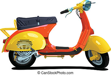 retro scooter - vector color illustration of scooter Simple...