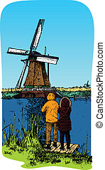 smock mill - A traditional windmill in Holland. Kinderdijk....