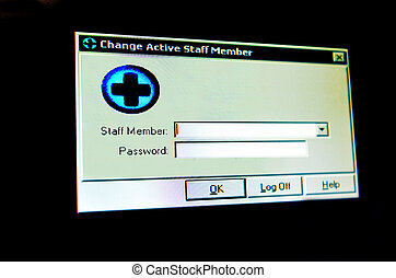 Login window of medical staff member isolated on black...