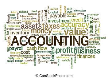 contabilidade, palavra, nuvem, palavra, bolha, etiquetas